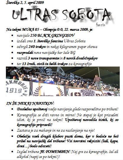 Prva stran druge številke fanzina Ultras Sobota