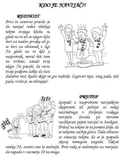 Druga stran druge številke fanzina Ultras Sobota